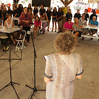 Lynn Heritage speaks to a crowd Sunday September 21, 2014 during a celebration of International Day of Peace sponsored by Grandmothers for Peace at Hugh MacRae Park in Wilmington, N.C. (Jason A. Frizzelle)