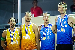 Nejc Zemljak, Jan Pokersnik, Tadej Beznik and Blaz Jakopin of Slovenia at Beach Volleyball Challenge Ljubljana 2019, on August 4, 2019 in Kongresni trg, Ljubljana, Slovenia. Photo by Grega Valancic / Sportida