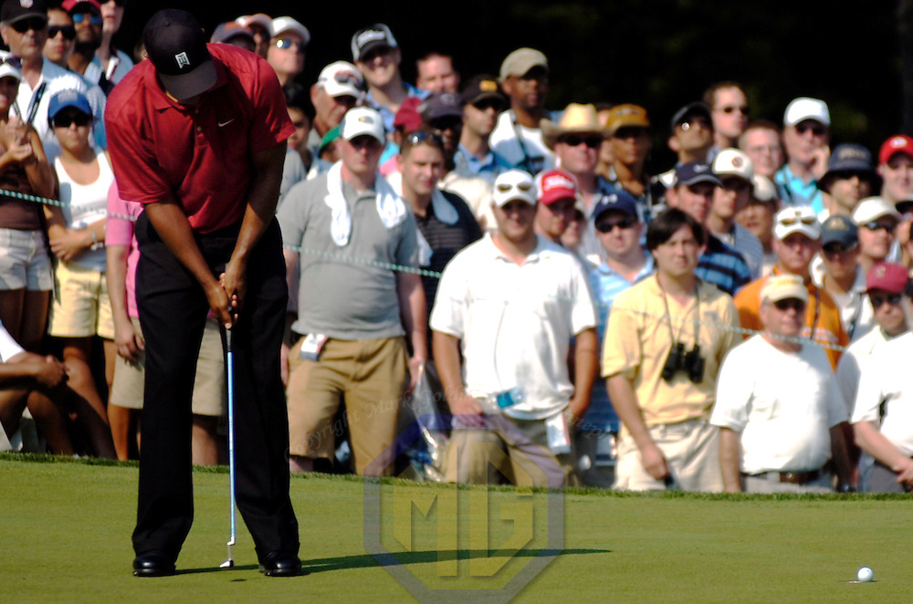 08 July 2007:  Tiger Woods misses a par putt on the 15th hole and had to settle for a bogey in the final round of the inaugural AT&T National PGA event at Congressional Country Club in Bethesda, Md. Woods finished in a tie for 6th place with a 2 under par score of 278.   K. J. Choi won the tournament with a 9 under par score of 271.  ****For Editorial Use Only****