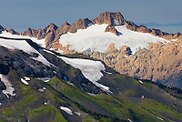 Twin Sisters Mountain, 7020 feet (2140 m) in the North Cascades. This mountain is a massive and rare occurence of Dunite rock (peridotite rock from the Earth's mantle) uplifted to the Earth's surface. Mount Baker Wilderness Washington USA