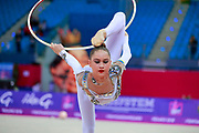 Nikolchenko Vlada during qualifying at hopp in Pesaro World Cup 13 April 2018. Goeun is a gymnast from Ukraine born in Kharkiv, 2002 .Her goal is compete at the 2020 Olympic Games in Tokyo..