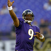 11 August 2006:  The Baltimore Ravens Steve McNair (9) warms up prior to the pre-season game against the New York Giants.  The Giants defeated the Ravens 17-16 at M&T Bank Stadium in Baltimore, Md. .