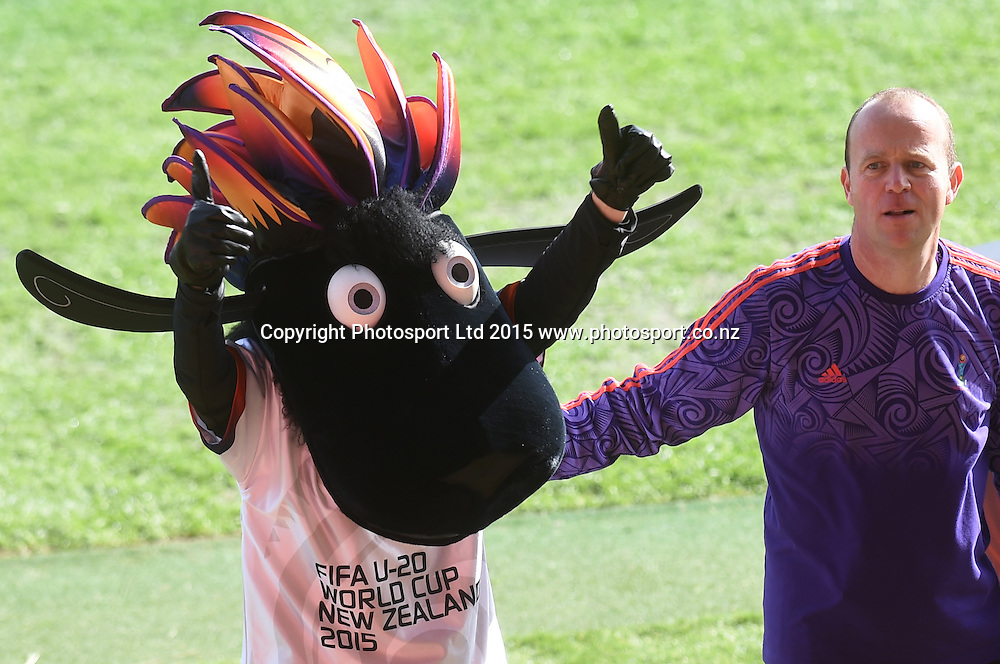 Mascot Wooliam during the FIFA U20 World Cup match, New Zealand Junior All Whites v Ukraine. North Harbour Stadium, Auckland, New Zealand. Saturday 30 May 2015. Copyright Photo: Andrew Cornaga / www.photosport.co.nz