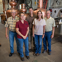 Left to right, Richard J. Sherman, Susannah Jaggers, Mike Sherman, Barbera Hubbuck and Thomas Sherman photographed at Vendome Copper & Brass Works Incorporated, Louisville, Kentucky.