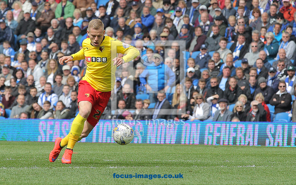 Matej Vydra of Watford scores to make it 2-0 during the Sky Bet Championship match at the American Express Community Stadium, Brighton and Hove<br /> Picture by Paul Terry/Focus Images Ltd +44 7545 642257<br /> 25/04/2015