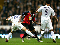 Photo: Tom Dulat.<br /> <br /> Tottenham Hotspur v Blackburn Rovers. The FA Barclays Premiership. 28/10/2007.<br /> <br /> Benni McCarthy of Blackburn Rovers in between Steed Malbranque(L) and Younes Kaboul(R) of Tottenham Hotspur with the ball.
