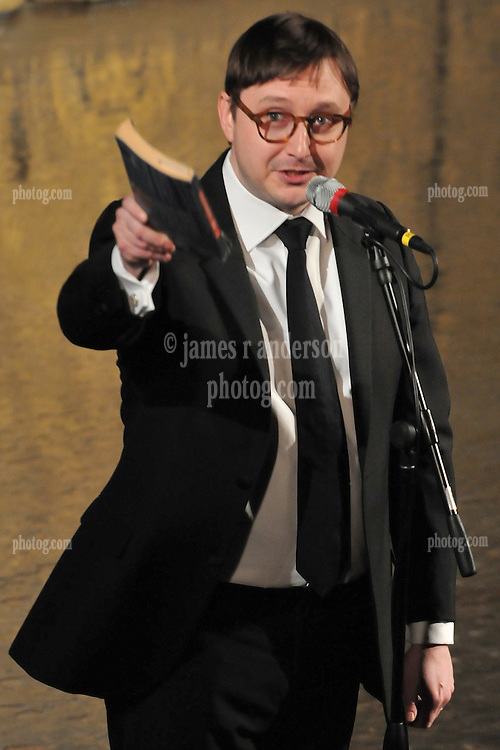 Jon Hodgman, seemingly pointing his book at me just before The Whiffs perform at Woolsey Hall: Century on a Spree: The Whiffenpoof Centennial (1909-2009)
