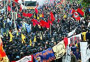 """Rostock   June 2, 2007   ..Mehr als 50000 Menschen demonstrieren in Rostock gegen den G8-Gipfel in Heiligendamm, gegen Kapitalismus, Militarismus, Krieg und gegen die Politik der G8-Staaten. Hier: Der """"Schwarze Block"""" in der Demonstration...More than 50000 people take part in a demonstration in the german city of rostock against the G8-summit in Heiligendamm, against capitalism, militarism, war and the politics of the G8 states. Here: The """"Black Block"""" in the Demonstration...20070602g8 ...[Inhaltsveraendernde Manipulation des Fotos nur nach ausdruecklicher Genehmigung des Fotografen. Vereinbarungen ueber Abtretung von Persoenlichkeitsrechten/Model Release der abgebildeten Person/Personen liegen nicht vor.]"""