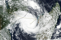 March 12, 2019 - Mozambique - Suomi NPP VIIRS image of Cyclone Idai. Tropical cyclone Idai cut a swathe through Mozambique, Zimbabwe and Malawi, the confirmed death toll stood at more than 300 and hundreds of thousands of lives were at risk. (Credit Image: © NASA Earth/ZUMA Wire/ZUMAPRESS.com)