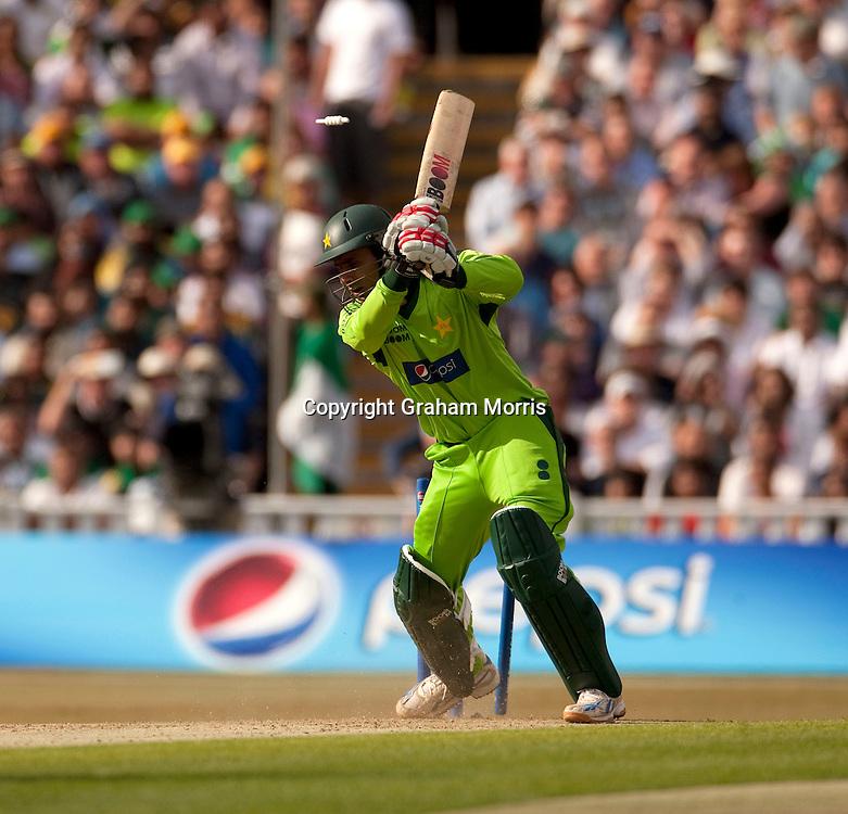Abdul Razzaq is bowled by Shaun Tait during the first International T20 match between Australia and Pakistan at Edgbaston, Birmingham.  Photo: Graham Morris (Tel: +44(0)20 8969 4192 Email: sales@cricketpix.com) 05/07/10