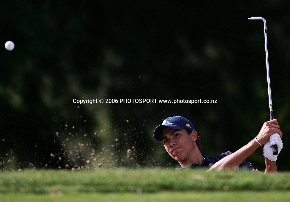 Australia's Matt Jager plays out of a bunker during the Clare Higson Trophy singles match between New Zealand's Danny Lee and Australia's Matt Jager at Hamilton Golf Club in Hamilton, New Zealand on Tuesday 26 September, 2006. Danny Lee won the match 2 and 1. Photo: Tim Hales/PHOTOSPORT