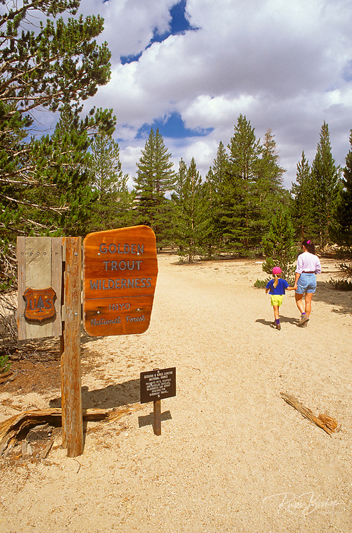 Mother and child (age 6) hiking on the Horseshoe Meadow Trail, Golden Trout Wilderness, Inyo National Forest, Sierra Nevada Mountains, California