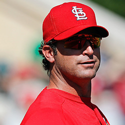 March 17, 2012; Lakeland, FL, USA; St. Louis Cardinals manager Mike Matheny (22) before a spring training game against the Detroit Tigers at Joker Marchant Stadium. Mandatory Credit: Derick E. Hingle-US PRESSWIRE