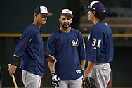 PHOENIX, AZ - JUNE 09:  Orlando Arcia #3, Jonathan Villar #5 and Carlos Subero #31 of the Milwaukee Brewers during batting practice prior to the MLB game against the Arizona Diamondbacks at Chase Field on June 9, 2017 in Phoenix, Arizona. The Milwaukee Brewers won 8-6.  (Photo by Jennifer Stewart/Getty Images)