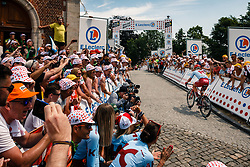 Leaders with Mads Wurtz (DEN) of Team Katusha - Alpecin (SUI,WT,Canyon) at the Muur van Geraardsbergen during stage 1 from Bruxelles to Brussel of the 106th Tour de France, 6 July 2019. Photo by Pim Nijland / PelotonPhotos.com | All photos usage must carry mandatory copyright credit (Peloton Photos | Pim Nijland)