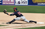 March 18, 2018 - Las Vegas, NV, U.S. - LAS VEGAS, NV - MARCH 18: Joe Sever (58) of the Indians stretches to make a play at first base during a game between the Chicago Cubs and Cleveland Indians as part of Big League Weekend on March 18, 2018 at Cashman Field in Las Vegas, Nevada. (Photo by Jeff Speer/Icon Sportswire) (Credit Image: © Jeff Speer/Icon SMI via ZUMA Press)