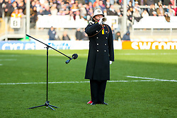 Bugler during the act of Remembrance before kick off - Rogan/JMP - 10/11/2019 - RUGBY UNION - Sandy Park - Exeter, England - Exeter Chiefs v Bristol Bears - Gallagher Premiership.