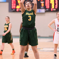 1st year point guard Lauryn Prokop (3) of the Regina Cougars during the Women's Basketball home game on January 27 at Centre for Kinesiology, Health and Sport. Credit: Arthur Ward/Arthur Images