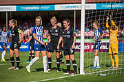 Megan Connolly (Brighton) joins Sophie Ingle (Chelsea) & Maren Mjelde (Chelsea) to await the corner kick during the FA Women's Super League match between Brighton and Hove Albion Women and Chelsea at The People's Pension Stadium, Crawley, England on 15 September 2019.