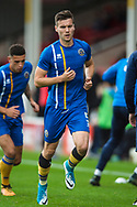 Mat Sadler of Shrewsbury Town warms up ahead of during the EFL Sky Bet League 1 match between Walsall and Shrewsbury Town at the Banks's Stadium, Walsall, England on 7 October 2017. Photo by Darren Musgrove.