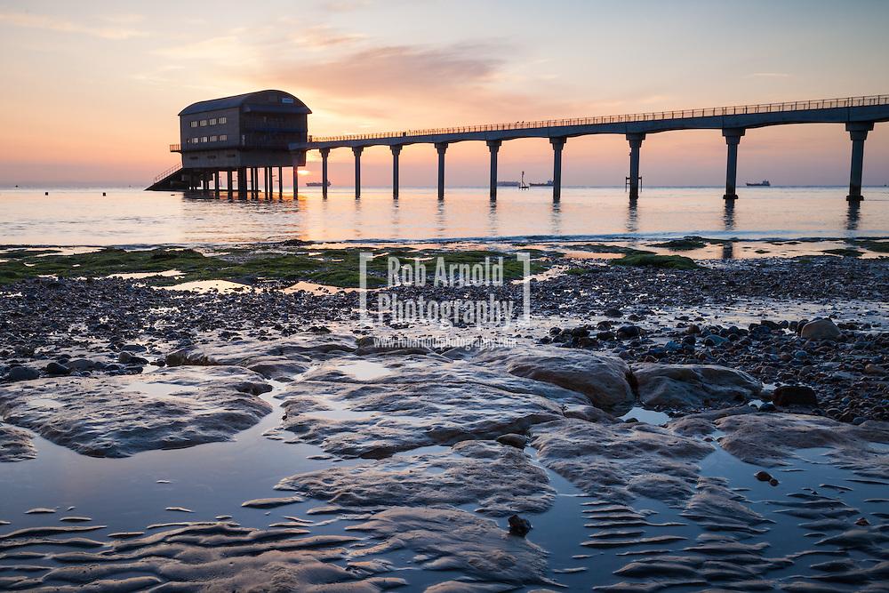 Bembridge lifeboat station on the Isle of Wight at sunrise