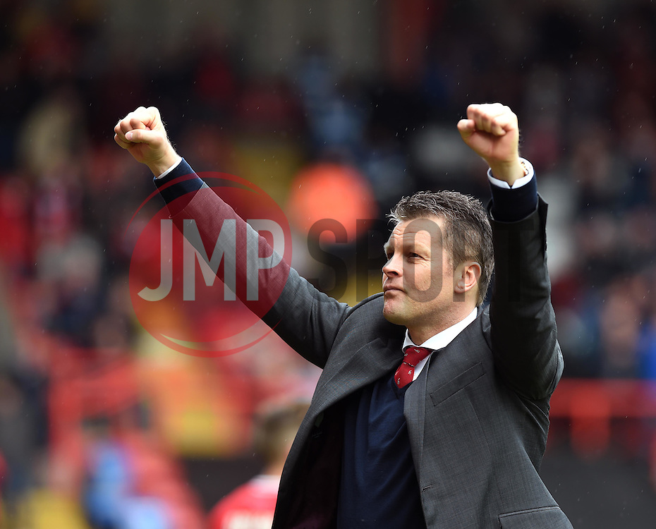 Bristol City manager Steve Cotterill turns towards supporters and celebrates at Ashton Gate - Photo mandatory by-line: Paul Knight/JMP - Mobile: 07966 386802 - 03/05/2015 - SPORT - Football - Bristol - Ashton Gate Stadium - Bristol City v Walsall - Sky Bet League One