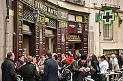 Diners feast on fried fish and beer at Casa Labra restaurante, Madrid, Spain.