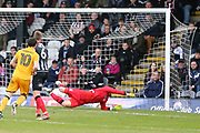 Port Vale midfielder David Worrall (10) shoots at goal and Grimsby Town goalkeeper James McKeown (1) makes a save during the EFL Sky Bet League 2 match between Grimsby Town FC and Port Vale at Blundell Park, Grimsby, United Kingdom on 10 March 2018. Picture by Mick Atkins.