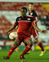 Bristol City U18s Jamal Simms in action during the first half of the match - Photo mandatory by-line: Rogan Thomson/JMP - Tel: Mobile: 07966 386802 - 04/12/2012 - SPORT - FOOTBALL - Ashton Gate Stadium - Bristol. Bristol City U18 v Ipswich Town U18 - FA Youth Cup Third Round Proper.