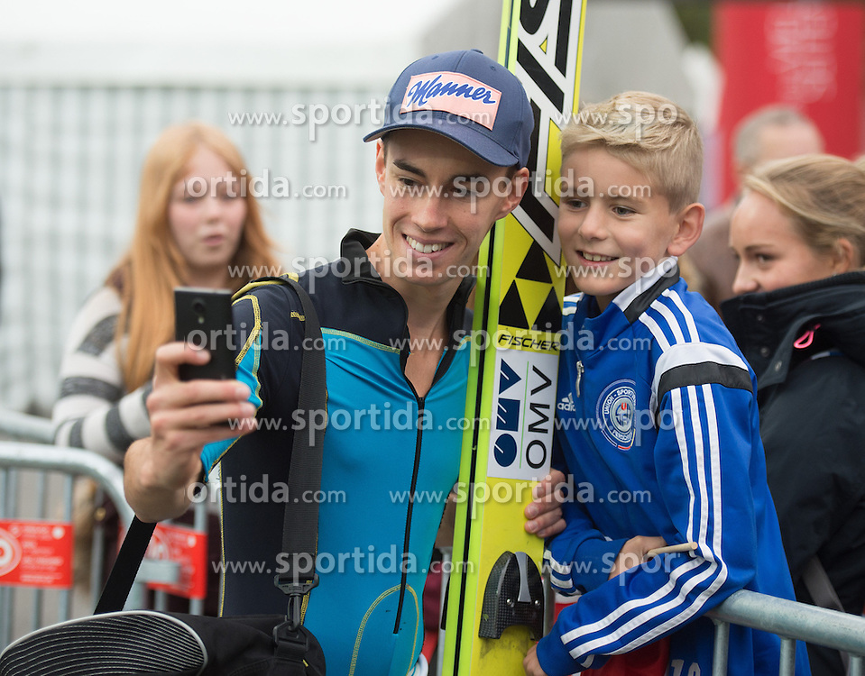 26.09.2015, Energie AG Skisprung Arena, Hinzenbach, AUT, FIS Ski Sprung, Sommer Grand Prix, Hinzenbach, Training, im Bild Stefan Kraft (AUT) during FIS Ski Jumping Summer Grand Prix Trainingsession, at the Energie AG Skisprung Arena, Hinzenbach, Austria on 2015/09/26. EXPA Pictures © 2015, PhotoCredit: EXPA/ Reinhard Eisenbauer