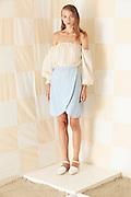 NEW YORK, NY - SEPTEMBER 03:  A model dressed in Litke during the Litke Spring 2015 Presentation on September 3, 2014 in New York City.  (Photo by Joe Kohen/Getty Images)