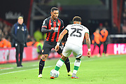 Jordon Ibe (10) of AFC Bournemouth looks for a way past Onel Hernandez (25) of Norwich City during the EFL Cup 4th round match between Bournemouth and Norwich City at the Vitality Stadium, Bournemouth, England on 30 October 2018.