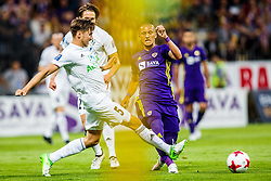 Valon Ahmedi #7 of NK Maribor and Bergsveinn Olafsson #5 of FH Hafnarfjirdur  during 1st Leg football match between NK Maribor (SLO) and FH Hafnarfjordur (ISL) in Third qualifying round of UEFA Champions League 2017/18, July 26, 2017, in Stadium Ljudski vrt, Maribor, Slovenia. Photo by Grega Valancic / Sportida