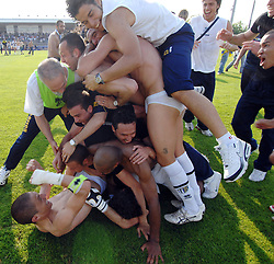 Parma players celebrate promotion to Serie A.