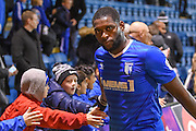 Gillingham forward Jay Emmanuel-Thomas (50) and winning goal scorer with fans (2-1) during the EFL Sky Bet League 1 match between Gillingham and Northampton Town at the MEMS Priestfield Stadium, Gillingham, England on 12 November 2016. Photo by Martin Cole.