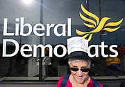 Liberal Democrats Autumn Conference in Brighton, East Sussex 15th September 2018 <br /> <br /> Demonstration outside the conference venue by Not Buying It <br /> A non political human rights group who thinks that people should be aware of what they are voting for when they vote Lib Dem, they state in there literature &quot;if you're not buying into these policies either then tell the Lib Dems to stop listening to pimps and pornographers and start listening to women and children. Demand a total rethink&quot;.<br /> <br /> <br /> <br /> Photograph by Elliott Franks