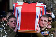 04/02/2009 The Funeral of a Royal Artillery soldier who died with a Royal Marine in Afghanistan blast. Captain Tom Sawyer, of 29 Commando Regiment Royal Artillery, was killed alongside his Royal Marine comrade Corporal Danny Winter in an explosion in Afghanistan on 14 January 2009.
