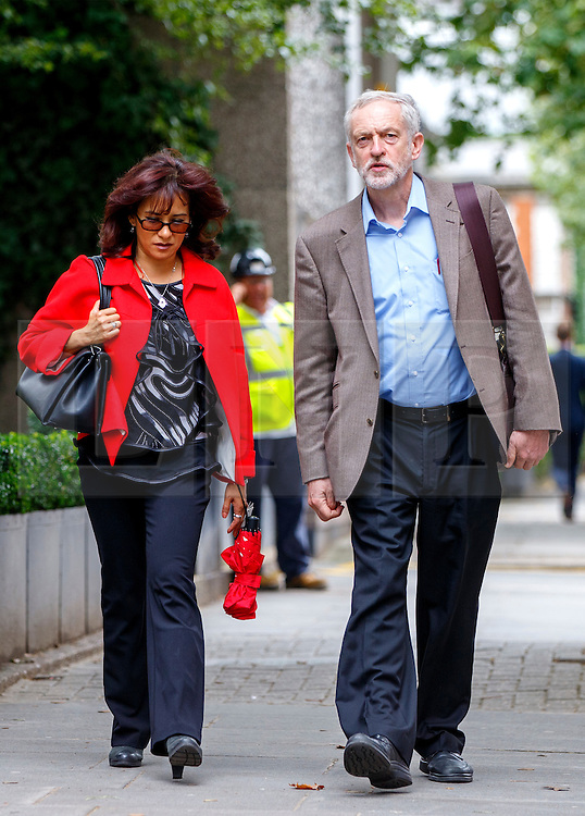 © Licensed to London News Pictures. 27/08/2015. London, UK. Labour Party leader candidate Jeremy Corbyn and his wife Laura Alvarez attending a husting hosted by Daily Mirror at DoubleTree Hilton Hotel in London on Thursday, August 27, 2015. Photo credit: Tolga Akmen/LNP