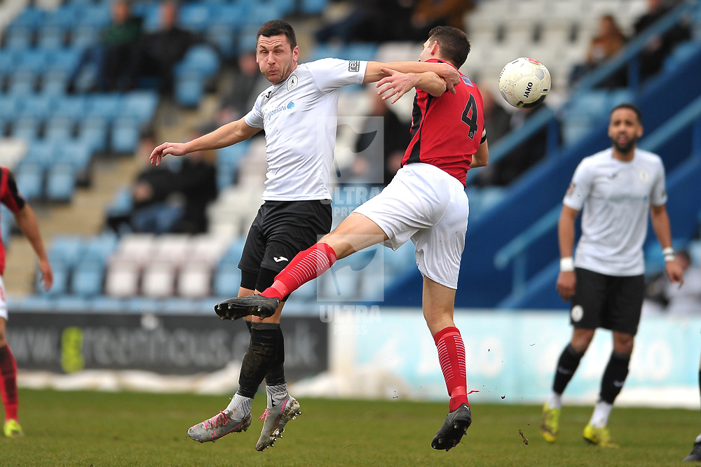 TELFORD COPYRIGHT MIKE SHERIDAN Aaron Williams of Telford  battles for the ball with Luke Graham of Kettering  during the Vanarama Conference North fixture between AFC Telford United and Kettering at The New Bucks Head on Saturday, March 14, 2020.<br /> <br /> Picture credit: Mike Sheridan/Ultrapress<br /> <br /> MS201920-050