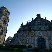 St Augustin Church of Paoay, Ilocos Norte, The Philippines. Parish founded by Augustinian missionaires in 1593; damaged by earthquakes in 1707 & 1927. Tower used as observation post by guerilleros during the Japanese Occupation.