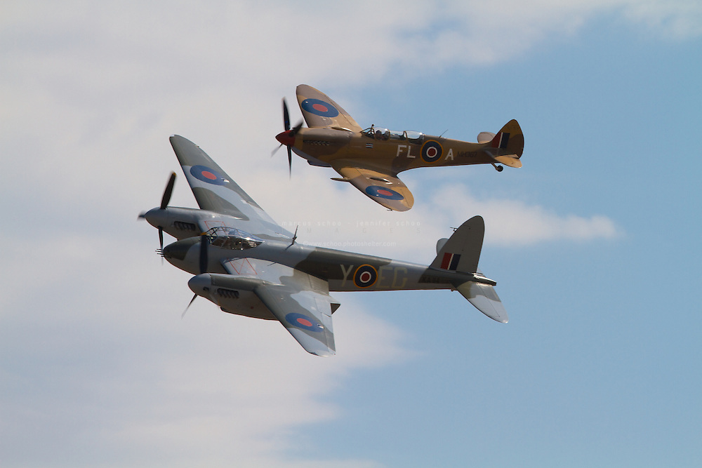 The only flying de Havilland Mosquito in the world and rare two seater Supermarine Spitfire fly in close formation at Wings Over Wairarapa over Masterton, New Zealand in 2013