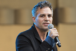 """October 23, 2016 - Los Angeles, California, United States - Actor Mark Ruffalo attends Climate Revolution Rally in Los Angeles, California. October 23, 2016. The rally is part of a series of """"Climate Revolution"""" rallies held across the country to inform people about issues related to climate change and social justice. (Credit Image: © Ronen Tivony/NurPhoto via ZUMA Press)"""