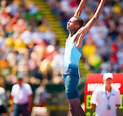 MUTAZ ESSA BARSHIM (QAT) the 21-year-old Olympic bronze medalist in the high jump cleared a bar at 7 feet, 10 1/2 inches. He became just the eighth man in history to go that high and the first to do it in 13 years.<br /> Barshim declined to go after the world record of eight feet even, but he earned the Prefontaine Classic's Maria Mutola Award as athlete of the meet . This was the second day of the Diamond League event Prefontaine Classic held at the University of Oregons Hayward Field.The Prefontaine Classic is named for University of Oregon track legend Steve Prefontaine.