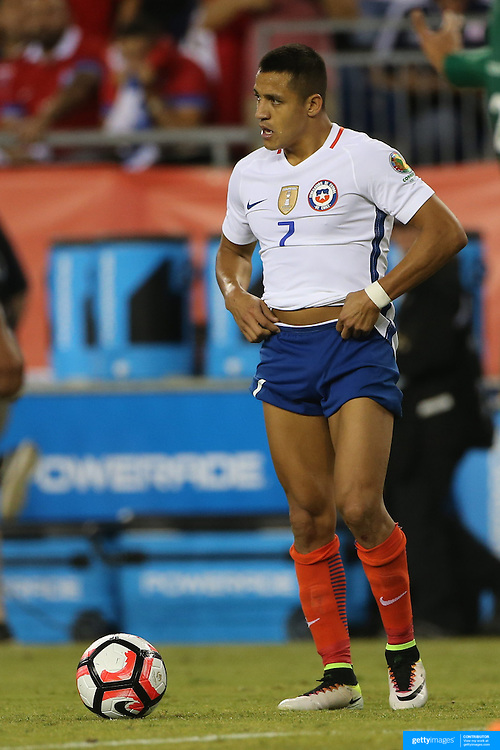 FOXBOROUGH, MASSACHUSETTS - JUNE 10: Alexis Sanchez #7 of Chile during the Chile Vs Bolivia Group D match of the Copa America Centenario USA 2016 Tournament at Gillette Stadium on June 10, 2016 in Foxborough, Massachusetts. (Photo by Tim Clayton/Corbis via Getty Images)