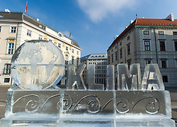 "03.11.2015, Ballhausplatz, Wien, AUT, WWF Protestaktion zum Klimaschutz vor dem Bundeskanzleramt. im Bild Eisskulptur Erdkugel und Schriftzug Klima // ice sculpture ""Earth and climate"" during protest action of the World Wildlife Fund (WWF) according to climate change in front of the austrian federal chancelly in Vienna, Austria on 2015/11/03 EXPA Pictures © 2015, PhotoCredit: EXPA/ Michael Gruber"