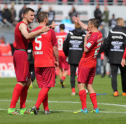 24.04.2016, Hardtwald, Sandhausen, GER, 2. FBL, SV 1916 Sandhausen vs FSV Frankfurt, 31. Runde, im Bild Florian Ballas (FSV Frankfurt), Manuel Konrad (FSV Frankfurt) und Denis Epstein (FSV Frankfurt) // during the 2nd German Bundesliga 31th round match between SV 1916 Sandhausen vs FSV Frankfurt at the Hardtwald in Sandhausen, Germany on 2016/04/24. EXPA Pictures &copy; 2016, PhotoCredit: EXPA/ Eibner-Pressefoto/ Bermel<br /> <br /> *****ATTENTION - OUT of GER*****