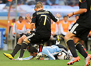 CAPE TOWN, SOUTH AFRICA- Saturday 3 July 2010, Bastian Schweinsteiger challenges Maxi Rodriguez during the quarter final match between Argentina and Germany held at the Cape Town Stadium in Green Point during the 2010 FIFA World Cup..Photo by Roger Sedres/Image SA
