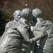 Last Conversation Piece bronze sculpture by Spainiard Juan Munoz, displayed at the Hirshhorn Museum, Washington DC USA<br />