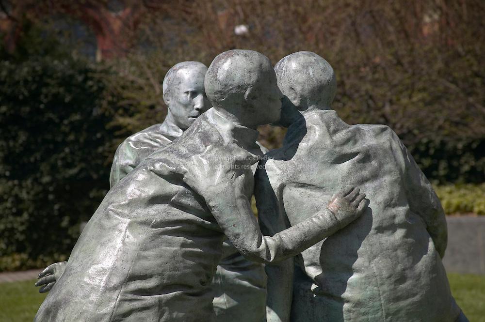 Last Conversation Piece bronze sculpture by Spainiard Juan Munoz, displayed at the Hirshhorn Museum, Washington DC USA<br />
