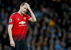 """Manchester United's Nemanja Matic during the Premier League match at the Etihad Stadium, Manchester. PRESS ASSOCIATION Photo. Picture date: Sunday November 11, 2018. See PA story SOCCER Man City. Photo credit should read: Martin Rickett/PA Wire. RESTRICTIONS: EDITORIAL USE ONLY No use with unauthorised audio, video, data, fixture lists, club/league logos or """"live"""" services. Online in-match use limited to 120 images, no video emulation. No use in betting, games or single club/league/player publications."""